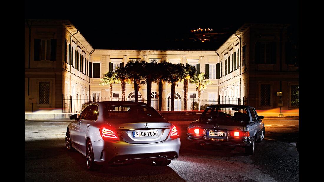 Mercedes 450 SEL 6.9, Mercedes C 250 Bluetec, Heckansicht