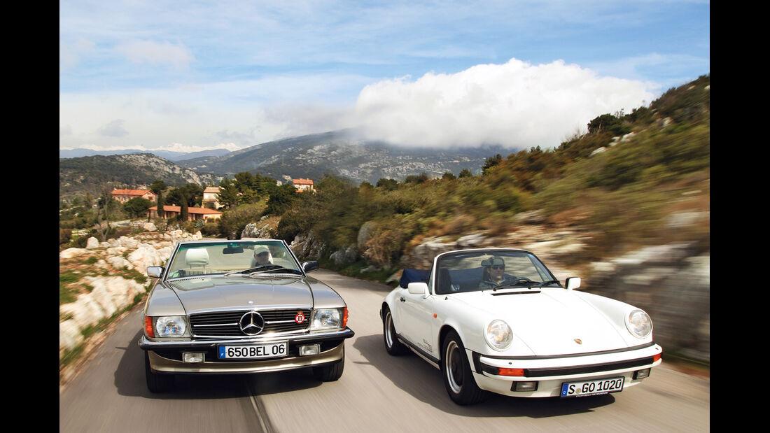 Mercedes 500 SL, Porsche 911 Carrera Cabriolet, Frontansicht