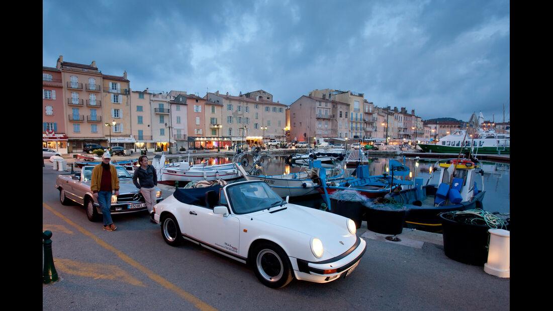 Mercedes 500 SL, Porsche 911 Carrera Cabriolet, Saint Tropez