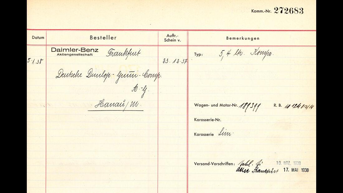 Mercedes 540 K Stromlinie, Dokumente