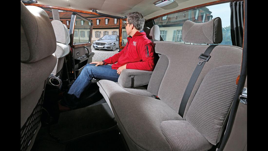 Mercedes 600, Rücksitz, Beinfreiheit