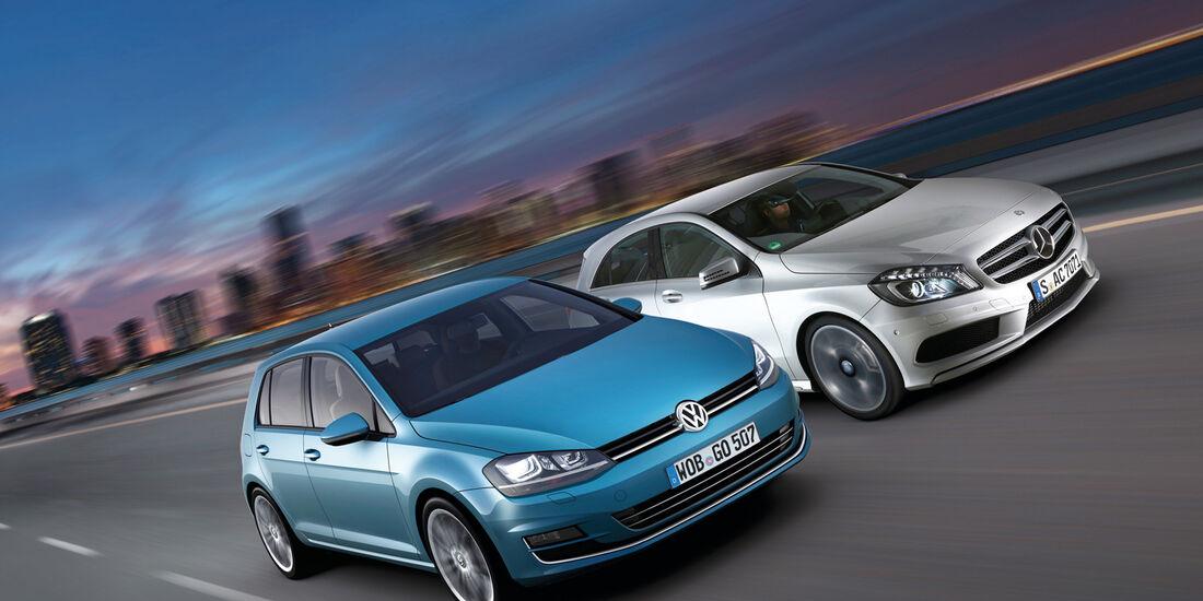 Mercedes A-Klasse, VW Golf, Frontansicht