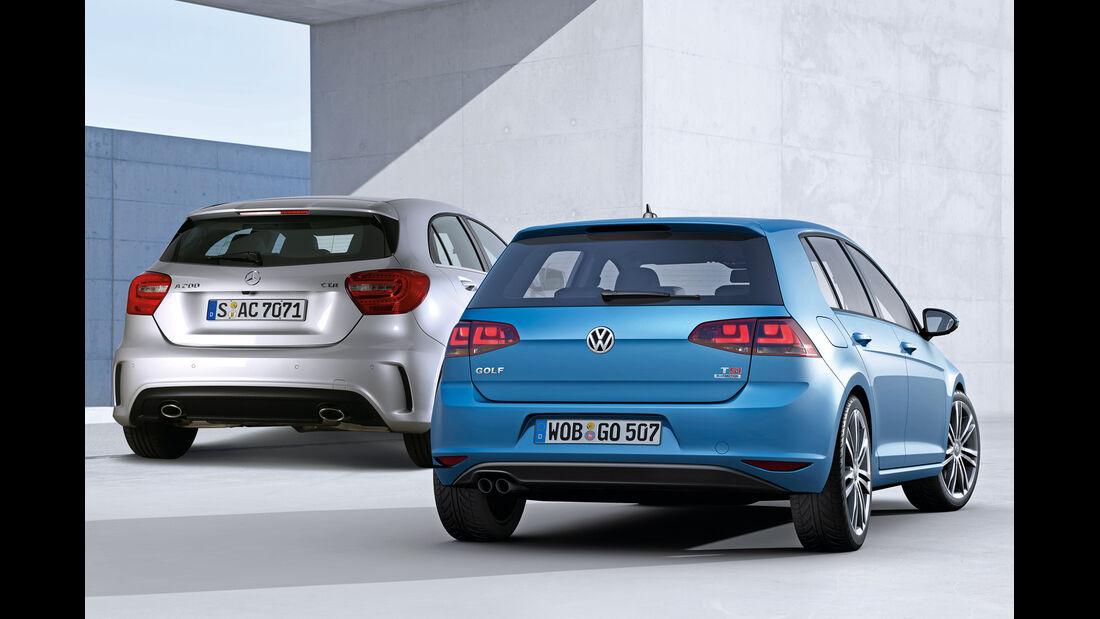 Mercedes A-Klasse, VW Golf, Heckansicht