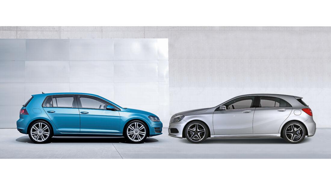 Mercedes A-Klasse, VW Golf, Seitenansicht