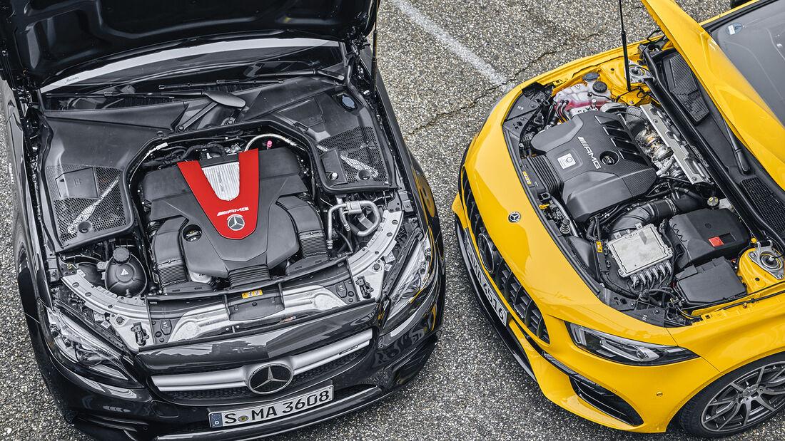 Mercedes-AMG A 45 S, Mercedes-AMG C 43 Coupe, Motorraum
