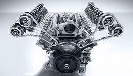 Mercedes-AMG C 63, Kurbelgehäuse, AMG 4,0-Liter V8-Biturbomotor, Motorbaureihe M177