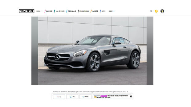 Mercedes-AMG GT Klein Einstiegsmodell Leak Drivetribe Screenshot