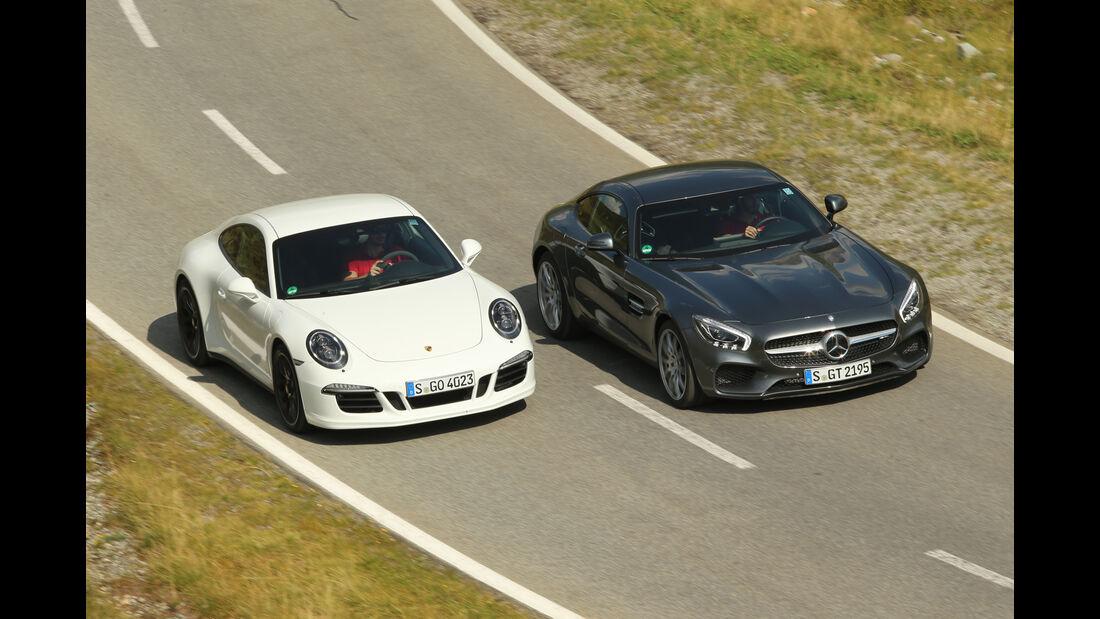 Mercedes-AMG GT, Porsche 911 Carrera GTS, Draufsicht