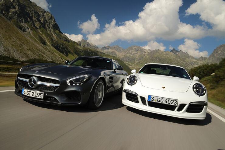 Mercedes-AMG GT, Porsche 911 Carrera GTS, Frontansicht