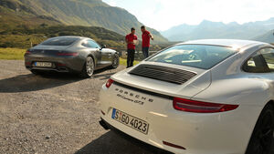 Mercedes-AMG GT, Porsche Carrera GTS, Heckansicht