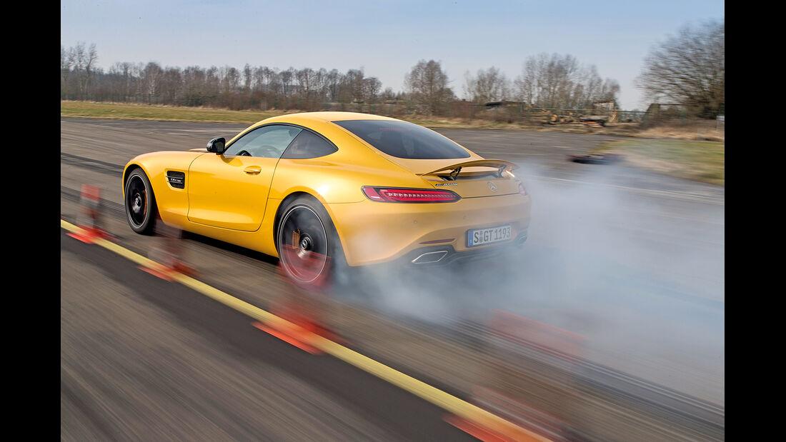 Mercedes-AMG GT S, Heckansicht, Burnout