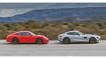 Mercedes AMG GT S, Porsche 911 Carrera GTS, Seitenansicht