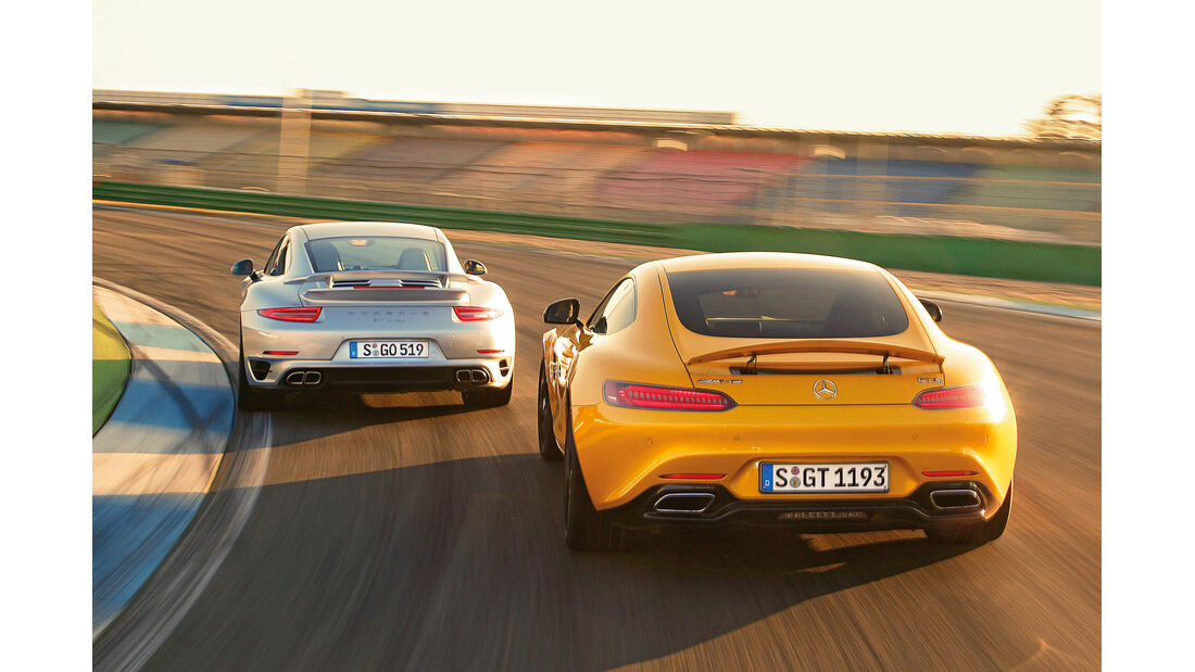 Mercedes-AMG GT S, Porsche 911 Turbo, Heckansicht