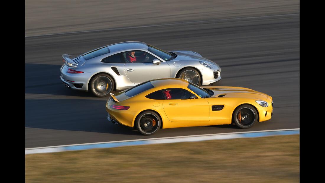 Mercedes-AMG GT S, Porsche 911 Turbo, Seitenansicht