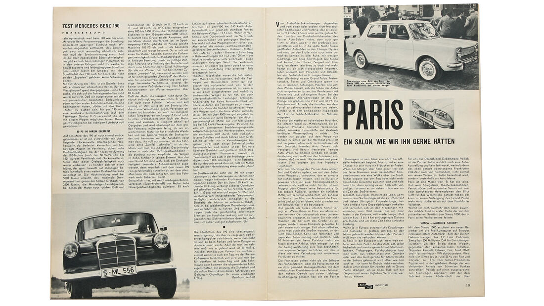 Mercedes-Benz 190, Alter Artikel
