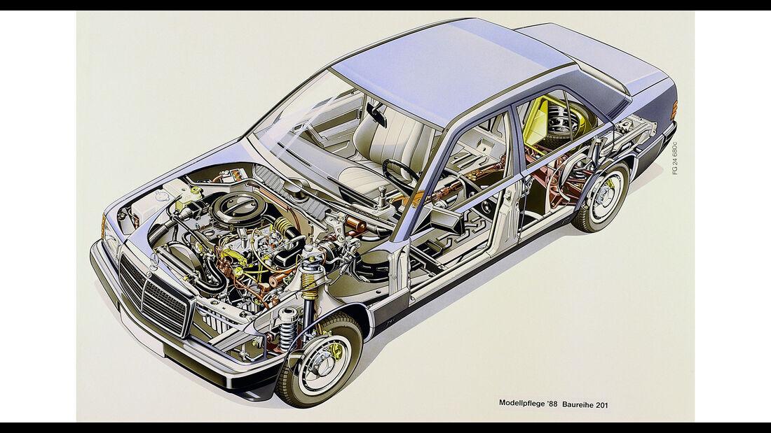 Mercedes-Benz 190E W201 Schnittzeichnung