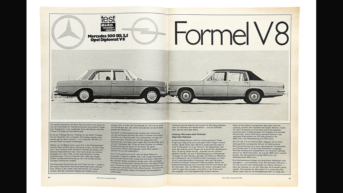 Mercedes-Benz 300 SEL 3.5, Opel Diplomat V8, ams-Artikel