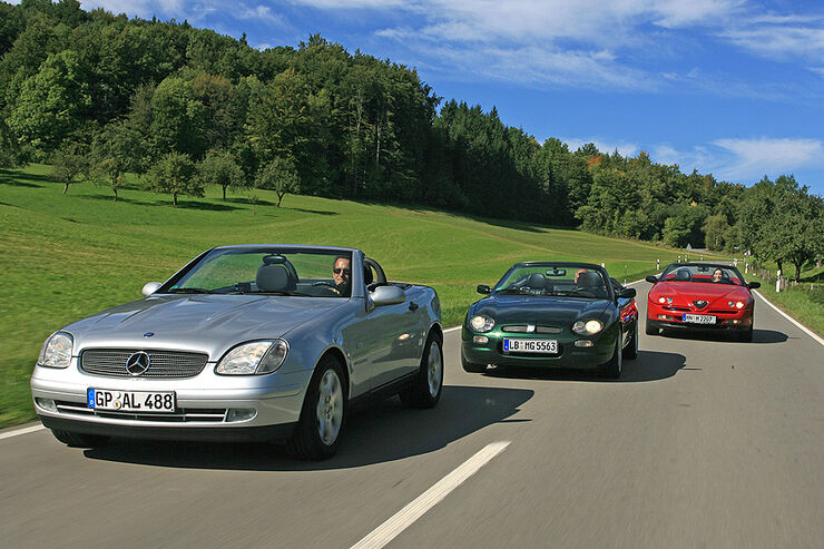 Mercedes-Benz SLK, Alfa Romeo Spider und MGF