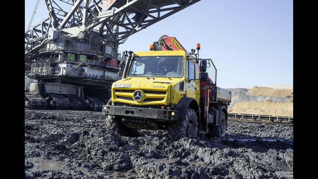 Mercedes-Benz Unimog U 5023, Exterieur, zink-gelb, OM 934 Euro VI mit 170 kW (231 PS), 5,1 L Hubraum, Getriebe UG 100/8, zuschaltbarer Allradantrieb