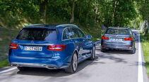 Mercedes C 180 T, BMW 330d, Heckansicht