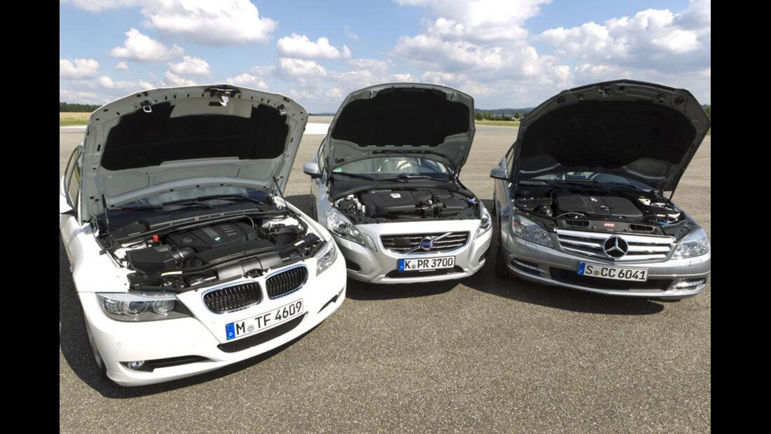 Mercedes C 220 CDI, BMW 320d, Volvo S60 D3, Motor