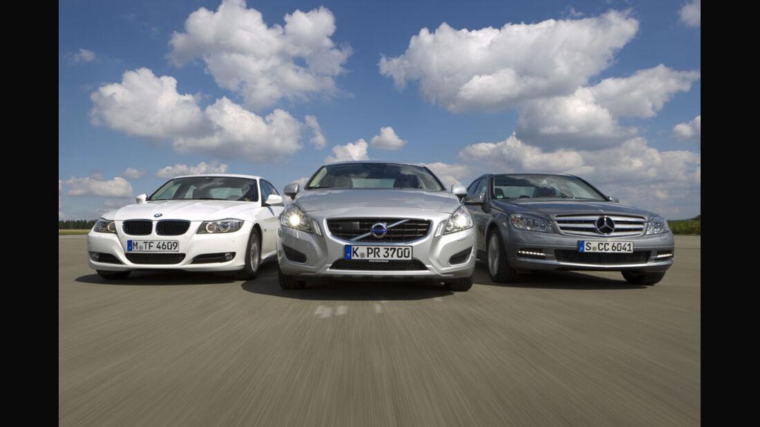 Mercedes C 220 CDI, BMW 320d, Volvo S60 D3