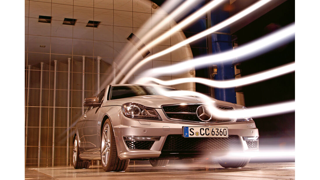 Mercedes C 63 AMG Coupé Performance Package, Frontansicht, Windkanal