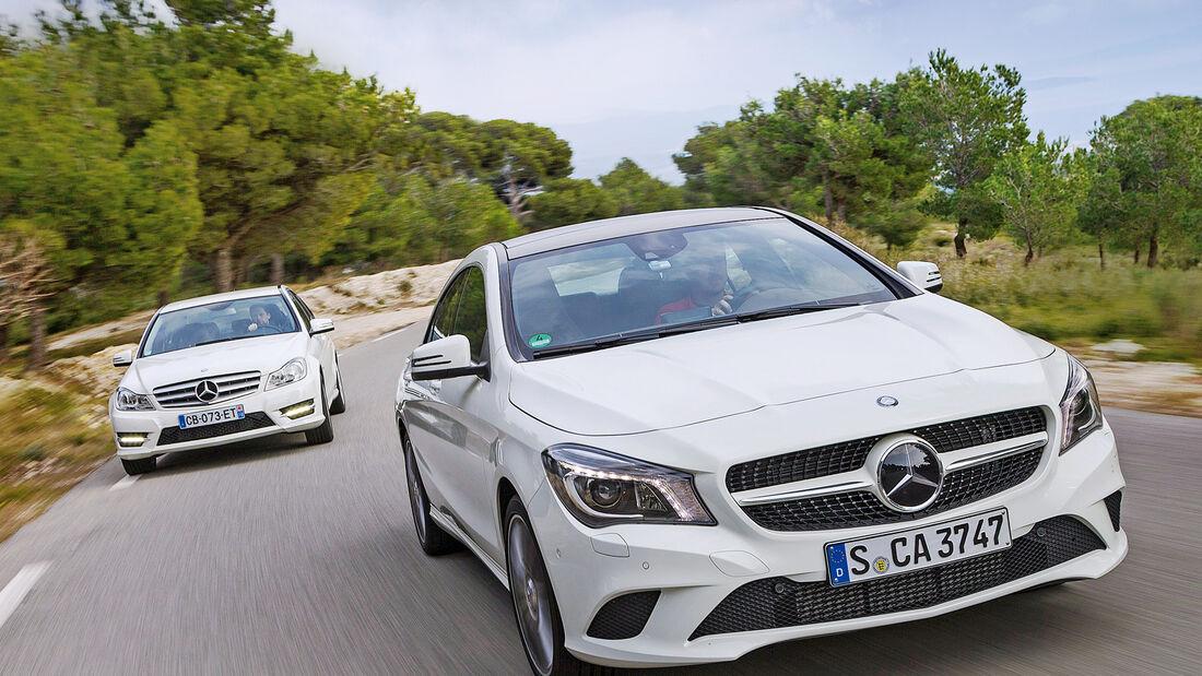 Mercedes CLA 220 CDI, Mercedes C 200 CDI, Frontansicht
