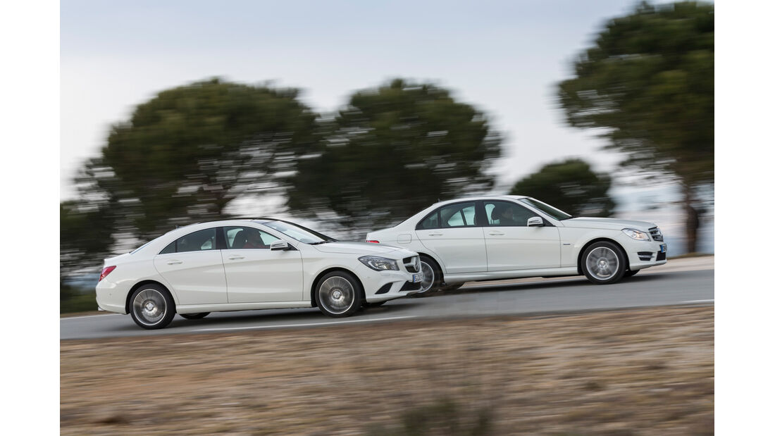 Mercedes CLA 220 CDI, Mercedes C 200 CDI, Seitenansicht