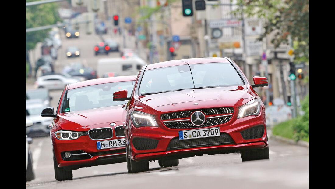 Mercedes CLA 250, BMW 328i, Frontansicht