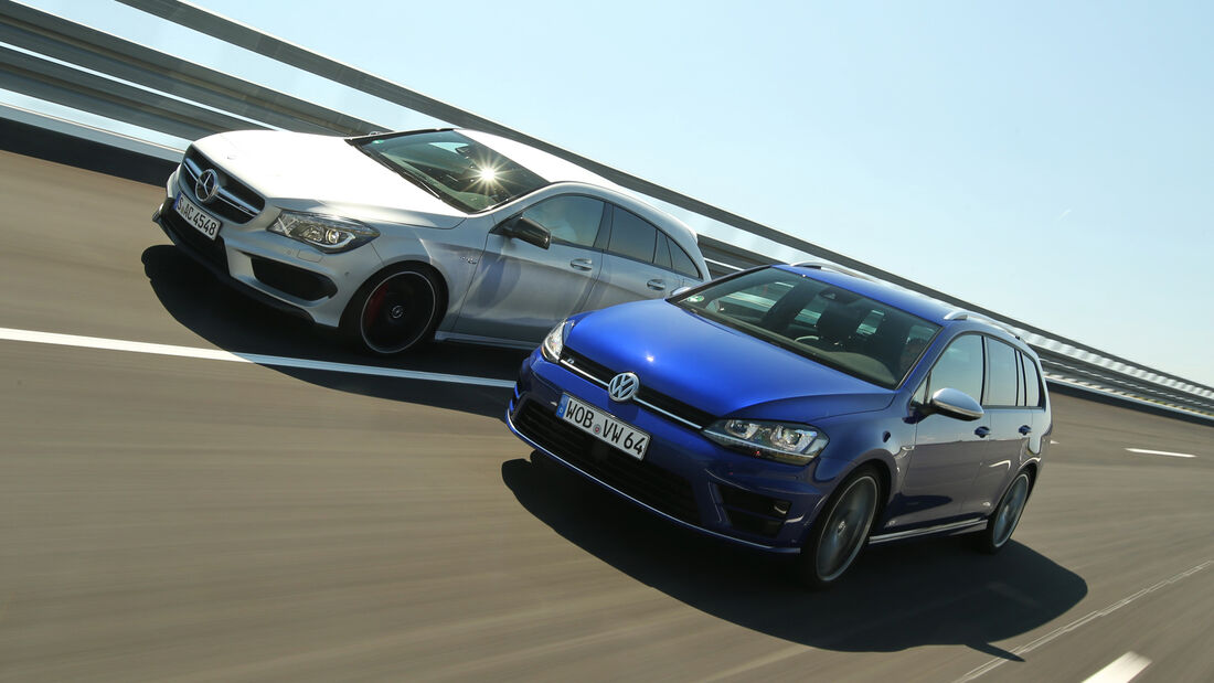 Mercedes CLA 45 AMG Shooting Brake, VW Golf Variant R, Frontansicht