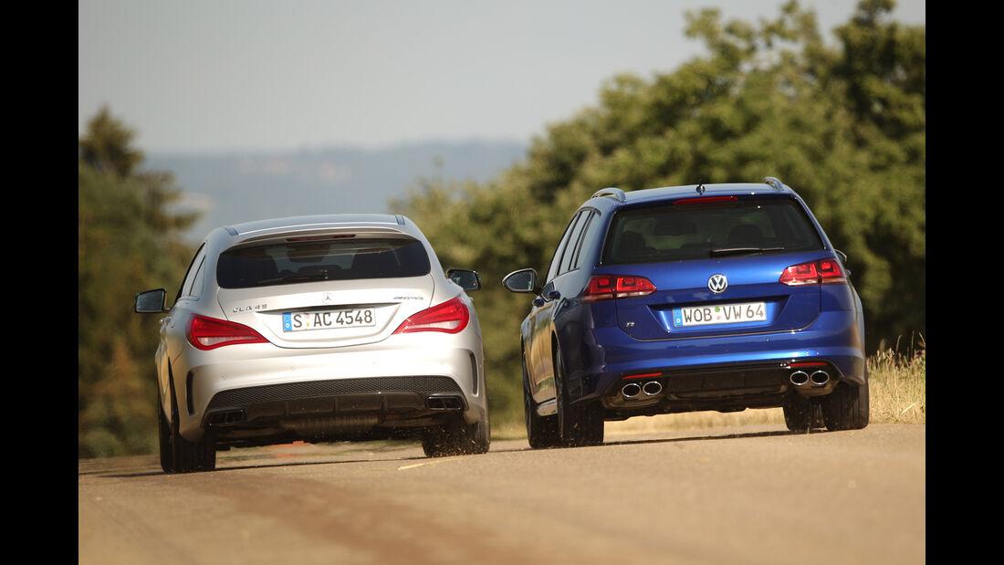 Mercedes CLA 45 AMG Shooting Brake, VW Golf Variant R, Heckansicht