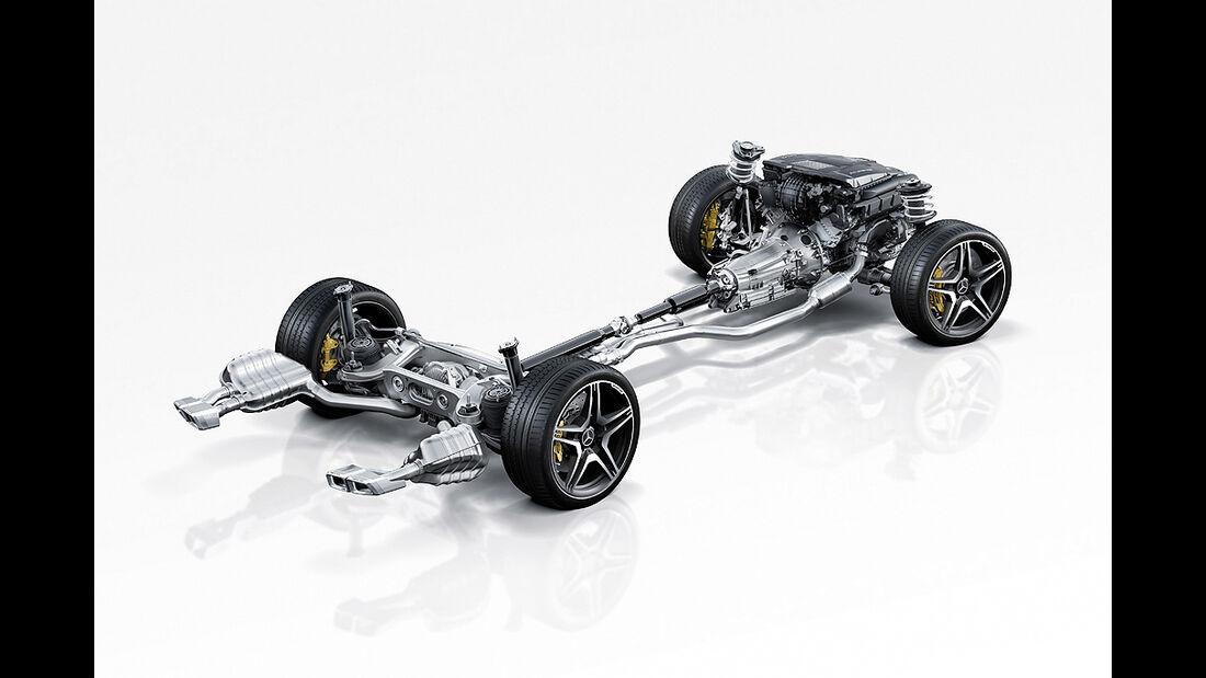 Mercedes CLS 63 AMG, Bodengruppe, technische Zeichnung