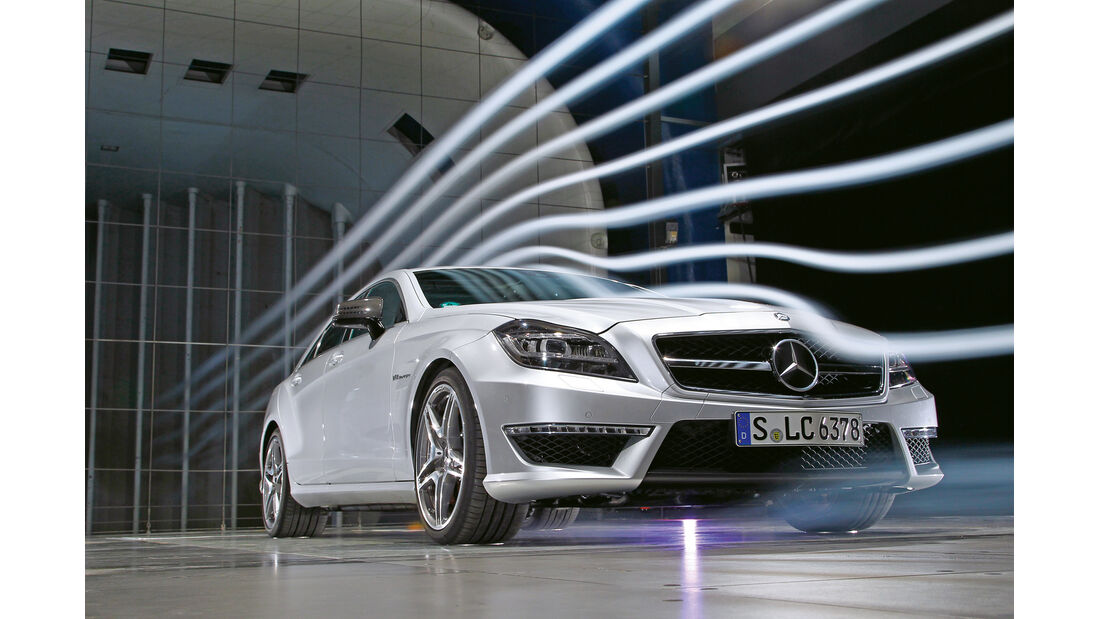 Mercedes CLS 63 AMG, Frontansicht, Windkanal