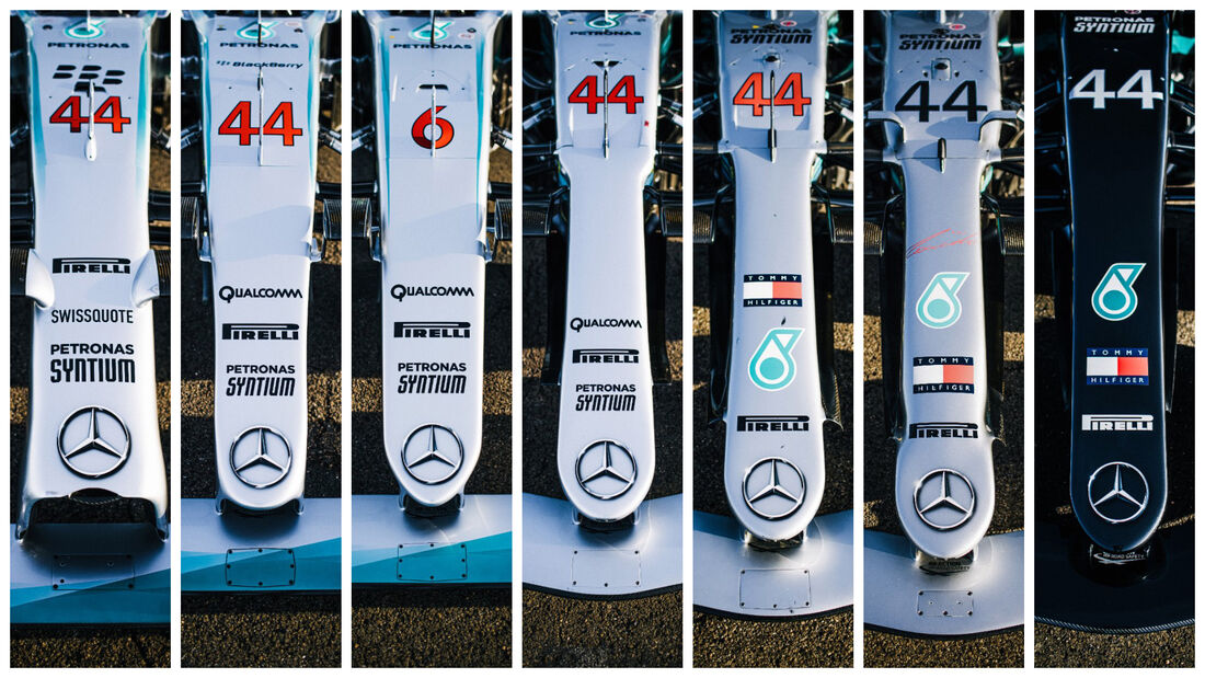 Mercedes Collage - Weltmeisterautos 2014 - 2020