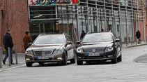 Mercedes E 200 CDI T Elegance, VW Passat Variant Blue TDI Highline, beide Fahrzeuge, Frontansicht