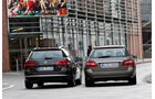Mercedes E 200 CDI T Elegance, VW Passat Variant Blue TDI Highline, beide Fahrzeuge, Rückansicht