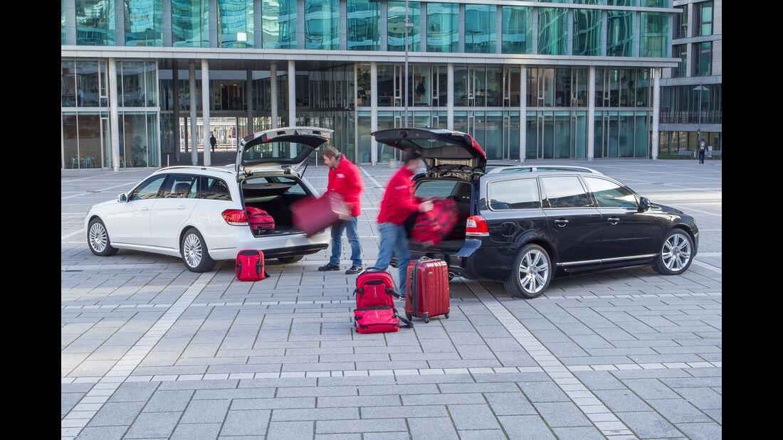 Mercedes E 220 T Bluetec, Volvo V70 D4, Beladung