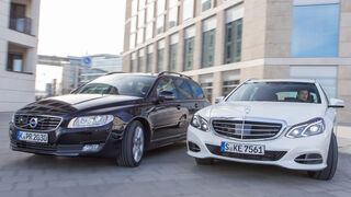 Mercedes E 220 T Bluetec, Volvo V70 D4, Frontansicht
