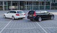 Mercedes E 220 T Bluetec, Volvo V70 D4, Heckansicht