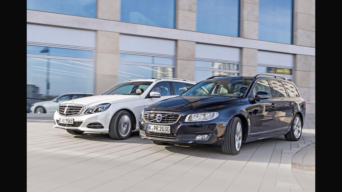 Mercedes E 220 T Bluetec, Volvo V70 D4, Seitenansicht