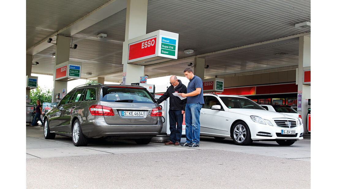 Mercedes E 300 T Bluetec Hybrid, Mercedes E 250 CDI T, Tankstelle