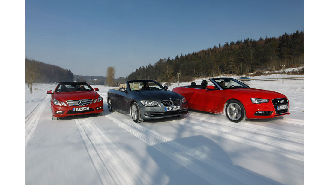 Mercedes E 350 Cabriolet, BMW 335i Cabriolet, Audi Cabriolet 3.0 TFSI Quattro, Frontansicht