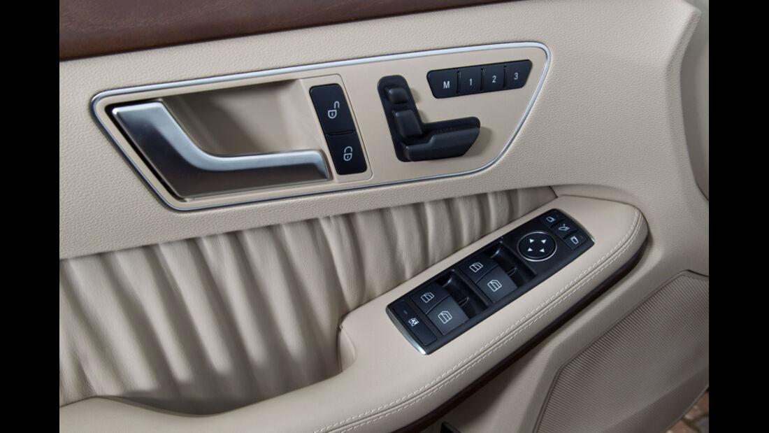 Mercedes E 350, Detail, Türöfnner innen, elektrische Fensterheber