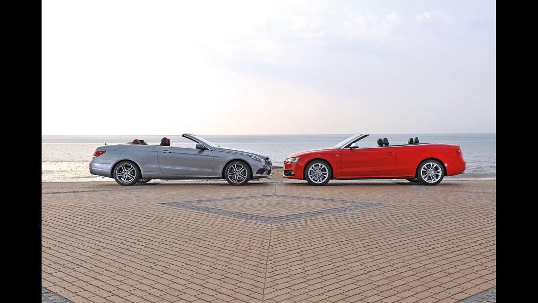 Mercedes E 400 Cabrio, Audi S5 Cabrio, Seitenansicht