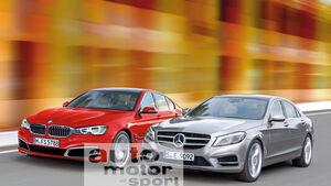 Mercedes E-Klasse, BMW Fünfer, Frontansicht