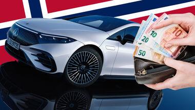 Mercedes EQS Luxus Elektroauto Steuer Norwegen