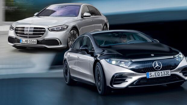Mercedes EQS und S-Klasse Collage Vergleich