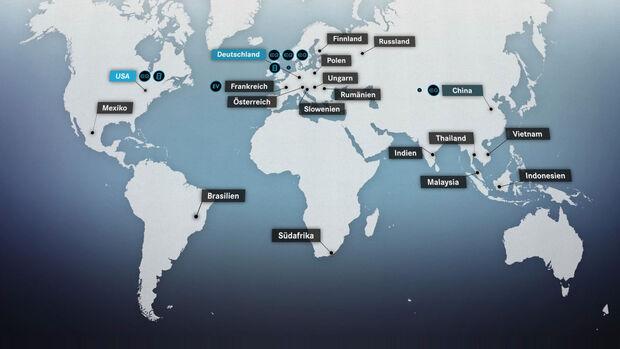 Mercedes Elekto-Offensive Werke weltweit