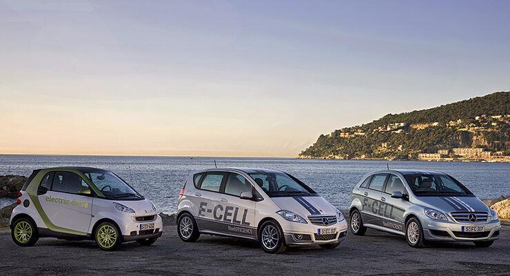 Mercedes Elektroautos A-Klasse, Smart, B-Klasse